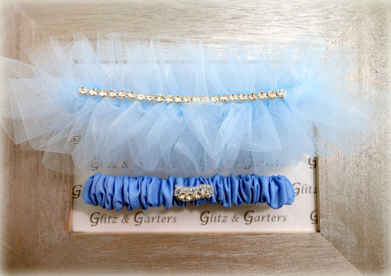 Light blue tulle wedding garter