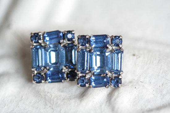 Something blue art deco inspired wedding earrings