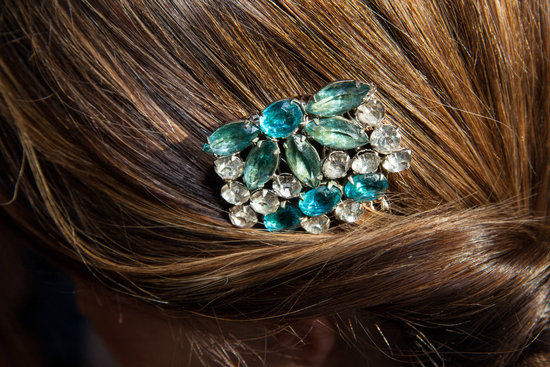 Something blue vintage wedding hair brooch