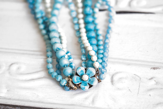 Blue pearl vintage wedding necklace