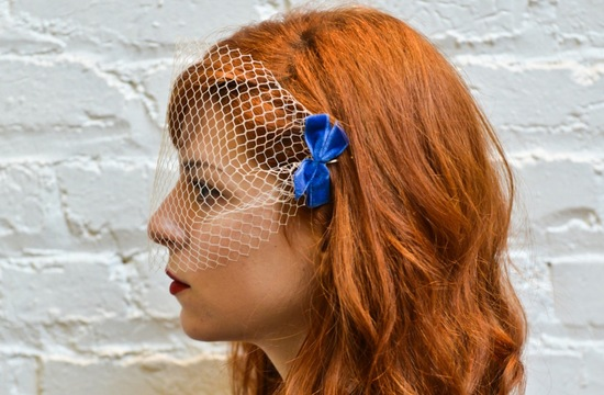 Blusher bridal veil with something blue bow
