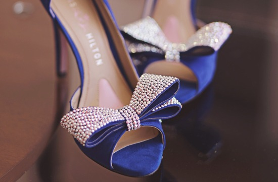 Blue peep toe wedding shoes with crystal bows