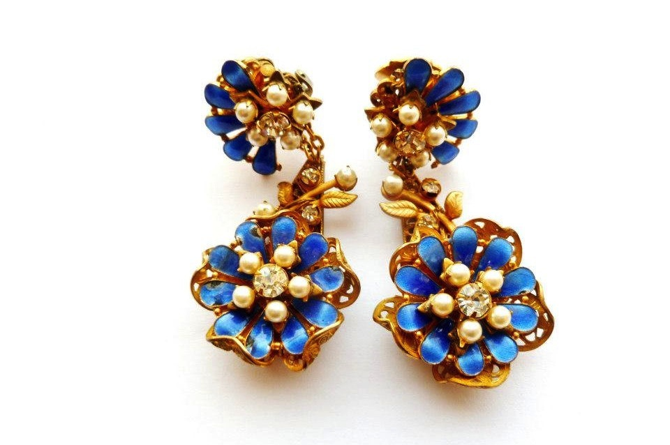Sapphire and gold vintage wedding earrings