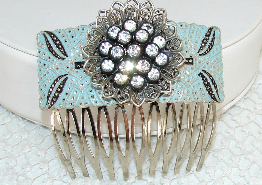 Antique powder blue and silver wedding hair comb