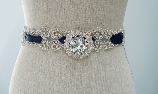 Something Blue Crystal Embellished Wedding Sash