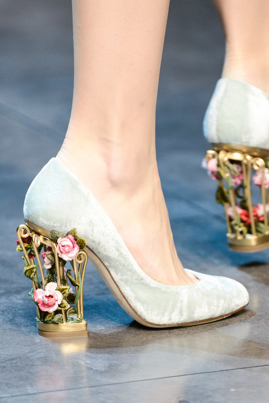 Whimsical wedding heels seafoam velour with rosette embellished heels