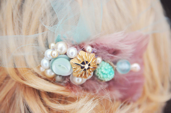 Mauve pearl gold mint green wedding hair piece