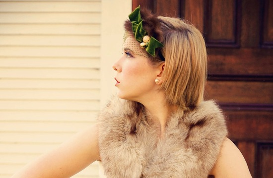 Green and brown fur velvet wedding headband