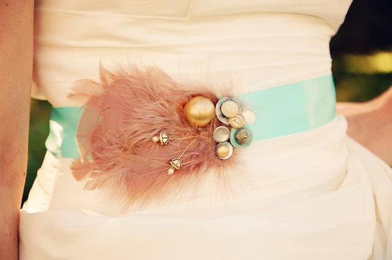 Mint Green Wedding Sash with Mauve Feathers