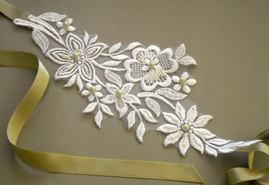 Lace and Ribbon wedding sash ivory olive green