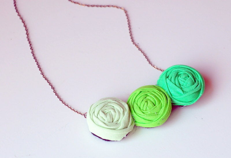 Wedding necklace for bridesmaids with green fabric flowers
