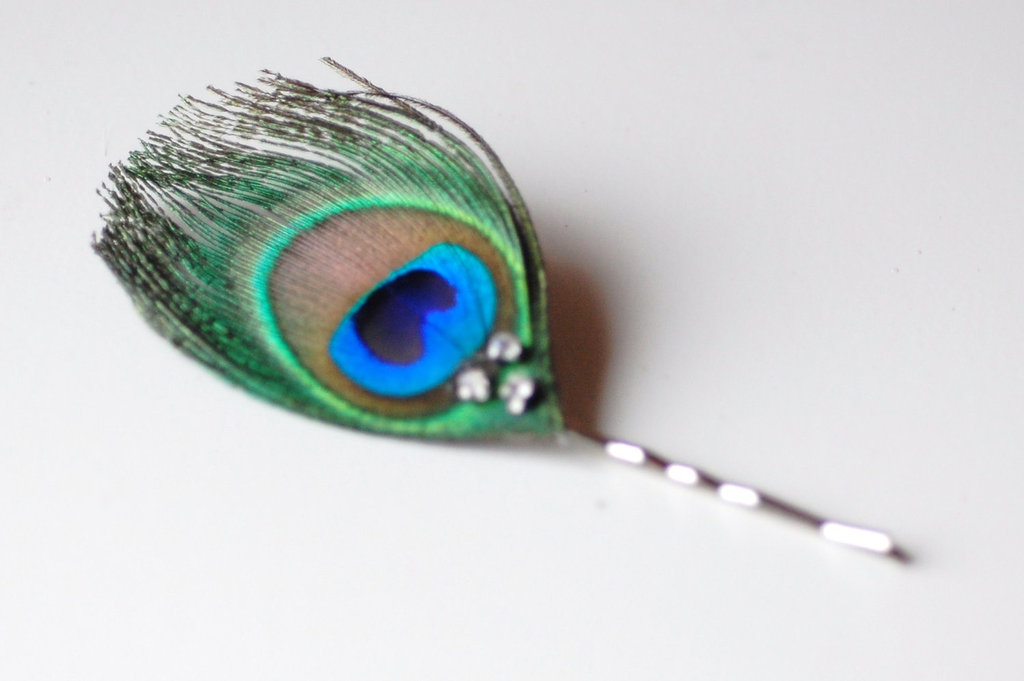 Simple peacock feather wedding hair pin