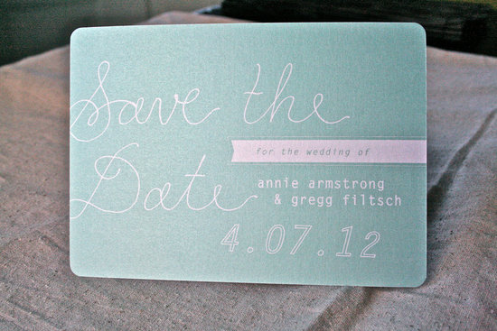 Mint green shimmer wedding save the date