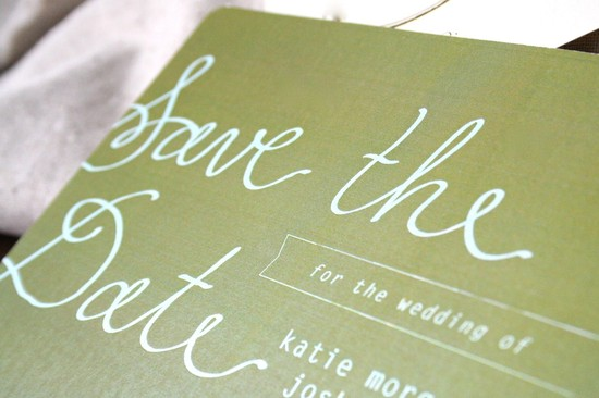 Olive green and white wedding save the date