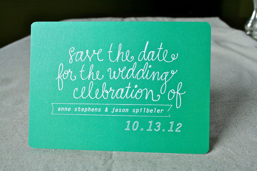 Kelly Green and White Wedding Save the Date