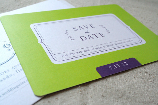 Lime Green White Purple Wedding Save the Date