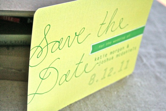 Vintage inspired yellow and green wedding save the date