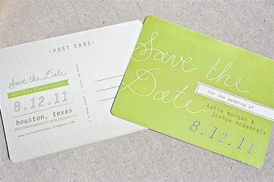 Chartreuse shimmer wedding save the date
