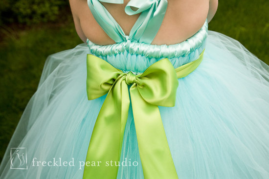 Mint and Apple Green Flower Girl Dress