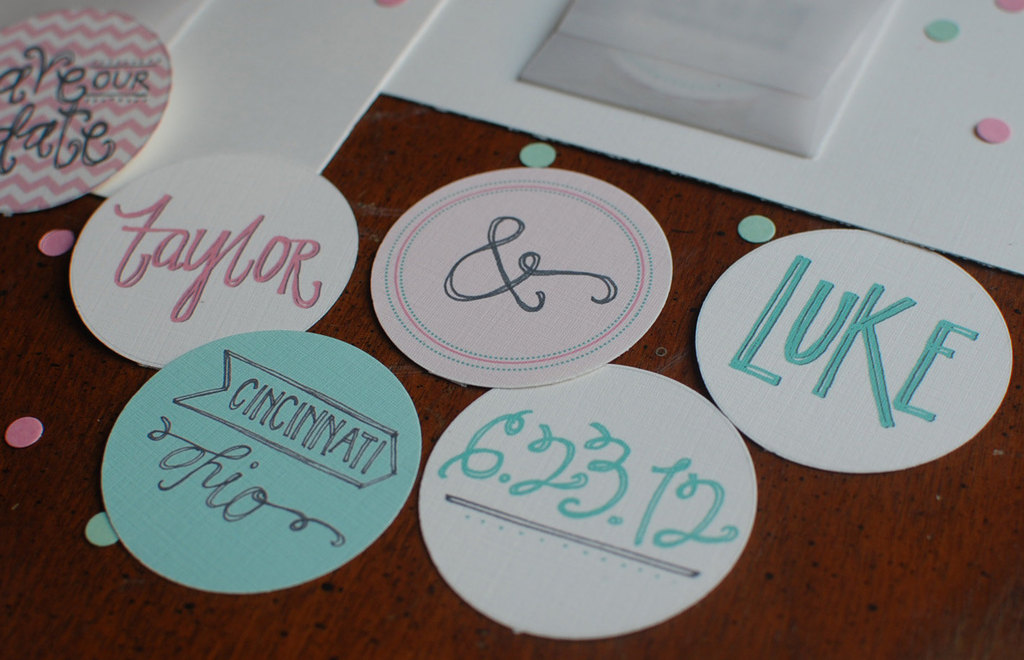 Handmade mint green and pink wedding save the date coasters