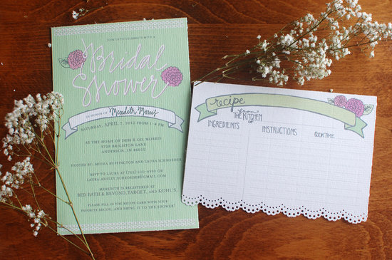 Romantic bridal shower wedding invitation pastel apple green and pink
