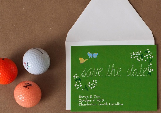 Whimsical apple green wedding save the date