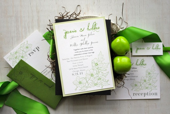 Whimsical green and ivory wedding invitation suite