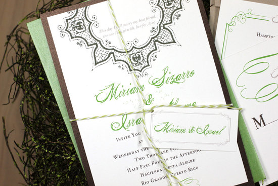 Spanish Garden Wedding Invitations Apple Green Brown Black