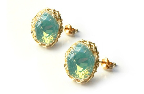 Ocean Green and Gold Wedding Stud Earrings