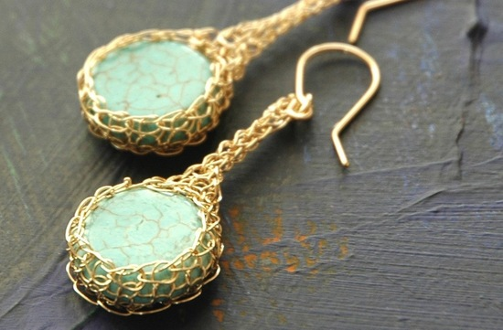 Turquoise and Gold elegant wedding earrings