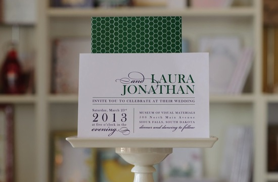 Elegant geometric wedding invitation green and white