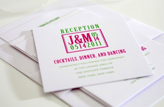 Green pink white modern wedding invitations