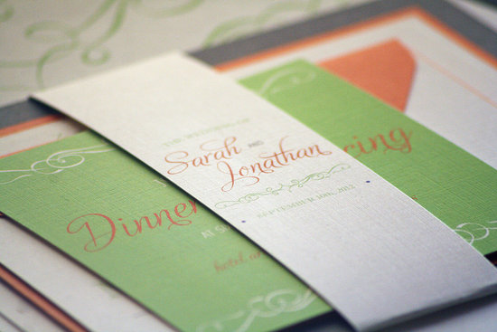 Elegant orange ivory green wedding invitation suite