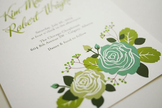 romantic garden wedding invites ivory with shades of green