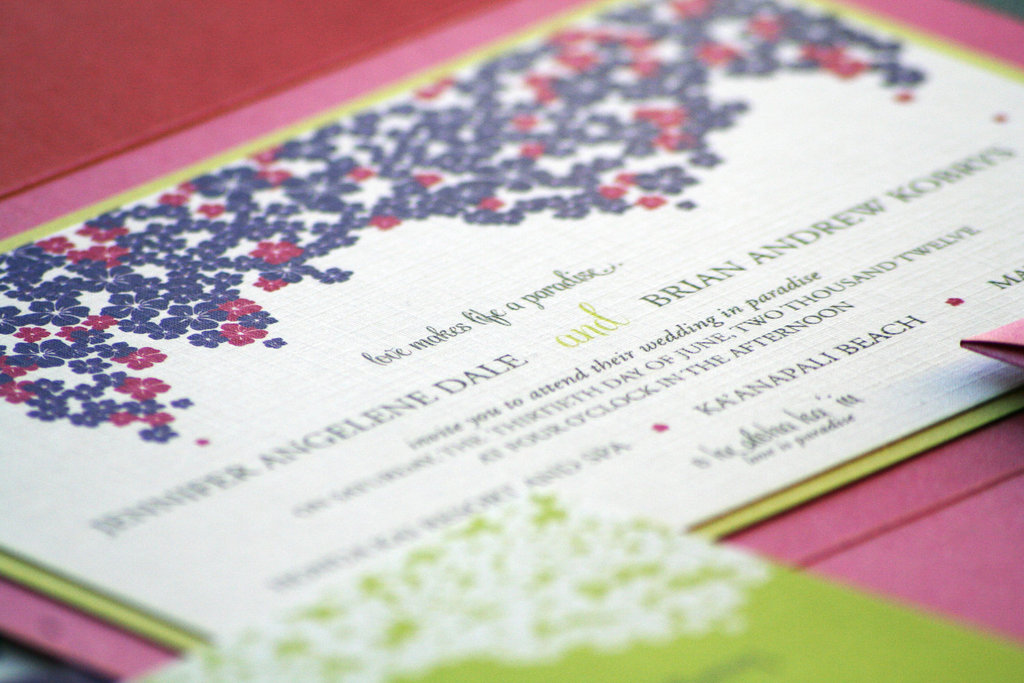 Pink purple chartreuse romantic wedding invitations