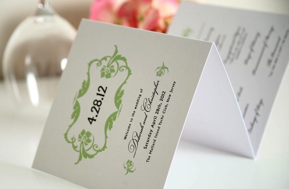 Classic-white-black-and-green-wedding-programs.full