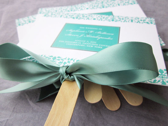 Mint green white and sage wedding fan programs
