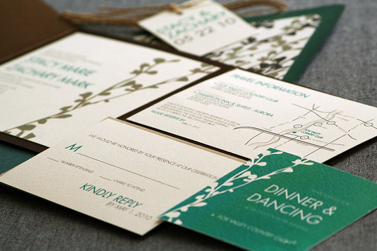 Ecru bronze and green wedding stationery suite