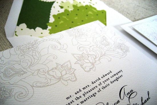 Beautiful wedding invitations with green envelope liners