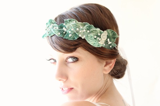 Green velvet leaves wedding hair crown