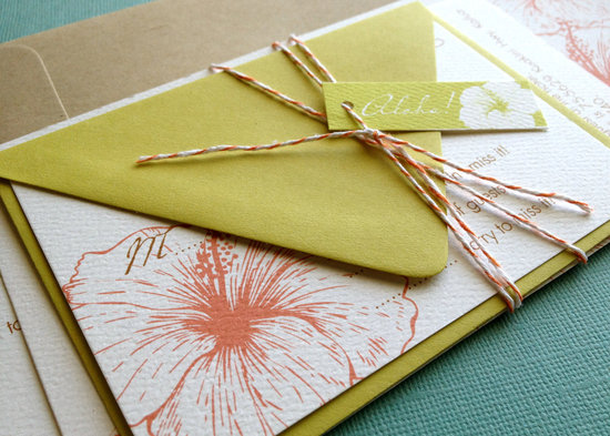Chartreuse coral and white beach wedding invitations