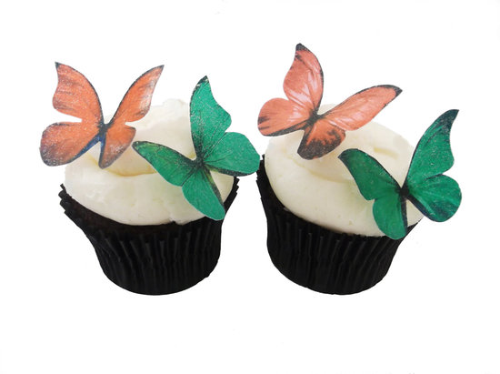Coral and Emerald Wedding Cupcake Toppers