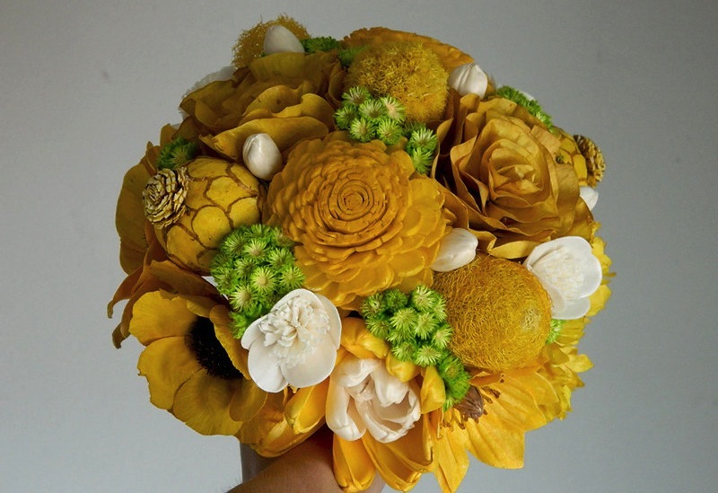 Green and Yellow wedding bouquet