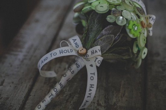 To Have and to Hold Green Button Wedding Bouquet