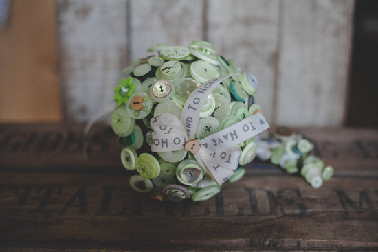 Mint green button bouquet for vintage brides