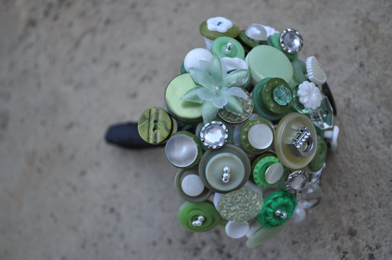 Mint green mini wedding bouquet of buttons