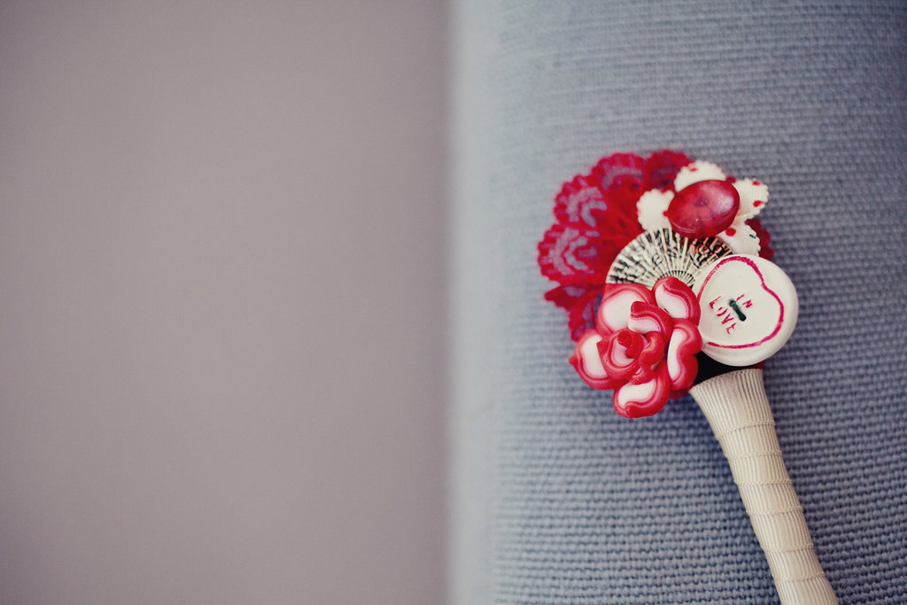 Deep Pink Button and Brooch Bridal Bouquet