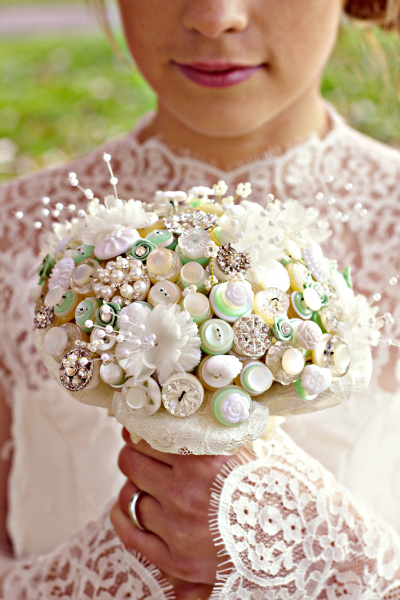 ivory pearl celery wedding bouquet of buttons