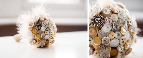 Simple button bouquet with feathers