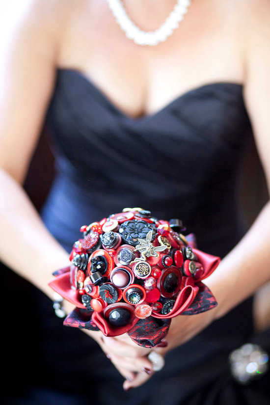 Poker themed wedding bouquet of buttons